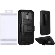 Insten Hybrid Side Kickstand Hard PC/Silicone Holster Clip Case with Package For LG Stylo 3 / Stylo 3 Plus - Black