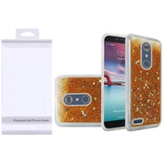 Insten Liquid Quicksand Glitter Fused Flexible Hybrid Case with Package For ZTE Carry / Zmax Pro - Gold