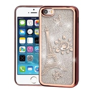 Insten Eiffel Tower Electroplating Quicksand Glitter Hybrid Case For Apple iPhone SE/5/5S - Rose Gold/Silver