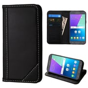 Insten Genuine Leather Wallet ID/Card Slot Flip Stand Case For Galaxy Amp Prime 2/Express Prime 2/J3 (2017) - Black