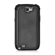 Insten Armor Vision Dual Layer Hybrid Rubberized Hard PC/Silicone Case Cover For Samsung Galaxy Note II - Black