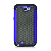 Insten Armor Vision Dual Layer Hybrid Rubberized Hard PC/Silicone Case Cover For Samsung Galaxy Note II - Black/Blue