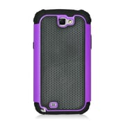 Insten Armor Vision Dual Layer Hybrid Rubberized Hard PC/Silicone Case Cover For Samsung Galaxy Note II - Black/Purple