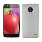 Insten Frosted TPU Rubber Candy Skin Gel Back Case Cover for Motorola Moto E4 - White