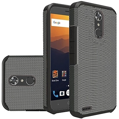 Insten Dual Layer Hybrid Hard PC/TPU Rubber Case Cover for ZTE Max XL - Carbon Fiber