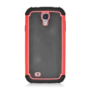Insten Armor Vision Dual Layer Hybrid Rubberized Hard PC/Silicone Case Cover For Samsung Galaxy S4 - Black/Red