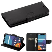 Insten Folio Hard TPU Cover Case w/stand/card holder For LG V30 - Black