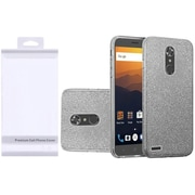 Insten Hybrid Glitter Clear PC/TPU Case Cover with Package For ZTE Max XL N9560 - Smoke