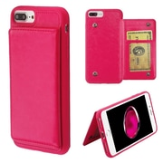 Insten Executive Protector Stand Leather Wallet Flap Pouch Case Cover for Apple iPhone 6 Plus/6s Plus/7 Plus - Hot Pink