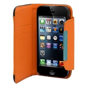Insten Leather Wallet Credit Card Flip Protective Case Cover For Apple iPhone 5 / 5S - Black/Orange