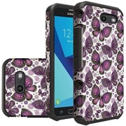 Insten Butterfly Hybrid Rubberized Dual Layer Hard PC/Silicone Case Cover For Samsung Galaxy J7 (2017) - Purple
