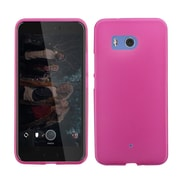 Insten Frosted TPU Rubber Candy Skin Gel Back Case Cover for HTC U11 - Hot Pink