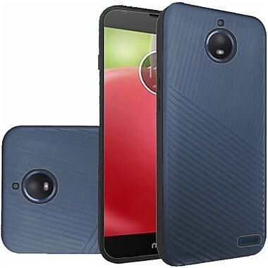 Insten Embossed Lines Hard Dual Layer Plastic TPU Cover Case For Motorola Moto E4 - Blue/Black