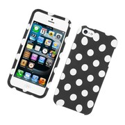 Insten Polka Dots Hard Snap-in Protective Back Case Cover For Apple iPhone 5 / 5S - Black/White
