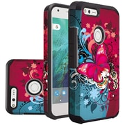Insten Butterfly Bliss Slim Hybrid Dual Layer Hard PC/Silicone Case For Google Pixel - Red/Blue
