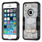 Insten Tuff Rocky Pebbles Dual Layer Hybrid Stand PC/TPU Rubber Case Cover for Apple iPhone 5/5S/SE - Gray/Black