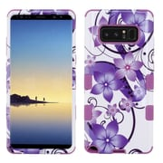 Insten Tuff Hibiscus Flower Romance Dual Layer Hybrid PC/TPU Rubber Case Cover for Samsung Galaxy Note 8 - Purple