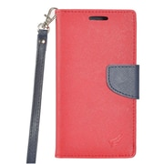 Insten PU Leather Wallet Flip Cover Stand Credit Card Case For Samsung Galaxy J7 (2017) / Sky Pro - Red