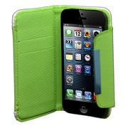 Insten Leather Wallet Credit Card Flip Protective Case Cover For Apple iPhone 5 / 5S - White/Green