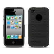 Insten Mesh Dual Layer Hybrid Rubberized Hard Plastic/Soft Silicone Case Cover For Apple iPhone 4 - Black