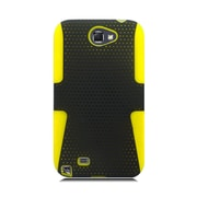 Insten Mesh Dual Layer Hybrid Hard PC/Silicone Case Cover For Samsung Galaxy Note II - Black/Yellow