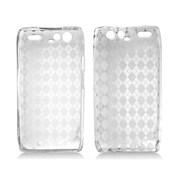 Insten Checker TPU Rubber Candy Skin Case Cover For Motorola Droid Razr XT912 - Clear
