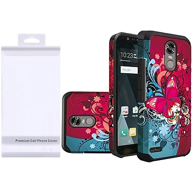 Insten Butterfly Bliss Slim Hybrid Hard PC/Silicone Case w/ Premium Package For LG Stylo 3 / Stylo 3 Plus - Red/Blue