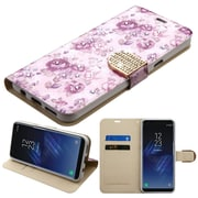 Insten Fresh Flowers Diamante MyJacket Wallet Leather Card Stand Flip Case For Samsung Galaxy S8+ S8 Plus - Purple