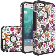 Insten Butterfly Flower Slim Hybrid Dual Layer Hard PC/Silicone Case For Google Pixel - Colorful