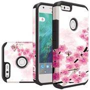 Insten Sakura Cherry Blossom Slim Hybrid Dual Layer Hard PC/Silicone Case For Google Pixel - White/Pink