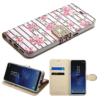 Insten Roses Diamante MyJacket Wallet Leather Card Stand Flip Case For Samsung Galaxy S8 - Multi-Color