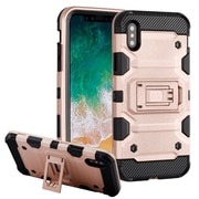 Insten Storm Tank Dual Layer Hybrid Stand PC/TPU Rubber Case Cover for Apple iPhone X - Rose Gold/Black