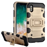 Insten Storm Tank Dual Layer Hybrid Stand PC/TPU Rubber Case Cover for Apple iPhone X - Gold/Black