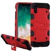 Insten Storm Tank Dual Layer Hybrid Stand PC/TPU Rubber Case Cover for Apple iPhone X - Red/Black