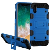 Insten Storm Tank Dual Layer Hybrid Stand PC/TPU Rubber Case Cover for Apple iPhone X - Blue/Black