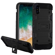 Insten Storm Tank Dual Layer Hybrid Stand PC/TPU Rubber Case Cover for Apple iPhone X - Black