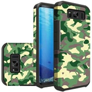 Insten Camouflage Green Rubberized Slim Dual layer Hybrid PC/TPU Case Cover For Samsung Galaxy S8