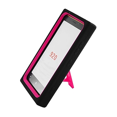 Insten Symbiosis Stand Hybrid Silicone/Hard PC Case Cover For Nokia Lumia 920 - Black/Hot Pink