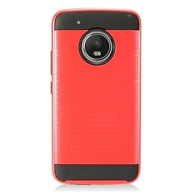Insten Chrome Hybrid Brushed Hard Cover Case For Motorola Moto G5 Plus - Red/Black