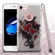 Insten Heart/Flower Full Glitter Dual Layer Hybrid PC/TPU Case Cover For Apple iPhone 7 - Colorful