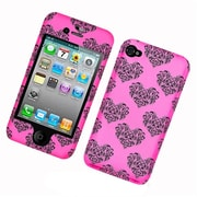Insten Hearts Hard Snap On Back Protective Case Cover For Apple iPhone 4 / 4S - Hot Pink/Black