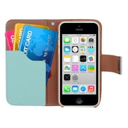 Insten Multicolor Leather Wallet Flip Card Pouch Case Cover For Apple iPhone 5C - Blue/Green