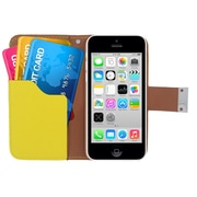 Insten Multicolor Leather Wallet Flip Card Pouch Case Cover For Apple iPhone 5C - Black/Yellow