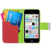 Insten Multicolor Leather Wallet Flip Card Pouch Case Cover For Apple iPhone 5C - Yellow/Pink