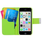 Insten Multicolor Leather Wallet Flip Card Pouch Case Cover For Apple iPhone 5C - Green/Orange