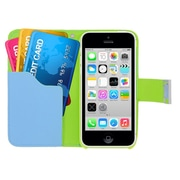 Insten Multicolor Leather Wallet Flip Card Pouch Case Cover For Apple iPhone 5C - Green/Blue