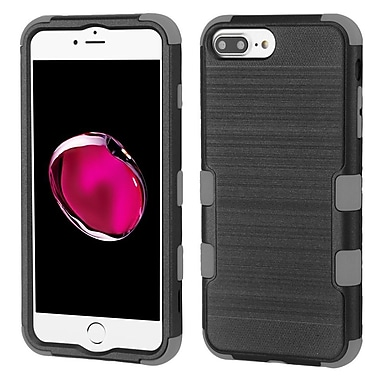 Insten Tuff Dual Layer Hybrid Brushed PC/TPU Rubber Case Cover for Apple iPhone 6 Plus/6s Plus/7 Plus - Black/Gray