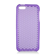 Insten TPU Rubber Hexagonal Transparent Skin Gel Case Cover For Apple iPhone 5 / 5S - Purple