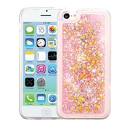 Insten Stars Quicksand Glitter Hybrid PC/TPU Dual Layer Case For Apple iPhone 5C - Pink