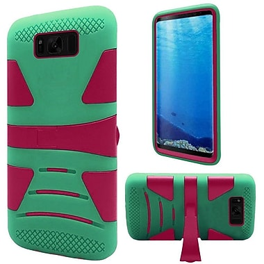 Insten Hybrid U Kickstand PC/TPU Dual Layer Case Cover For Samsung Galaxy S8 - Hot Pink/Teal